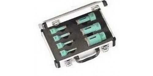 Набор алмазных сверёл ST-DA в алюминиевом чемоданчике для сухой сверловки по мрамору, керамограниту и агломерату. Крепление М14